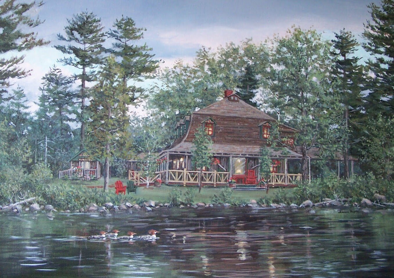 Fantastic Jeanne Dupre Art Hedges Main Lodge Blue Mountain Lake Sold Home Interior And Landscaping Ologienasavecom